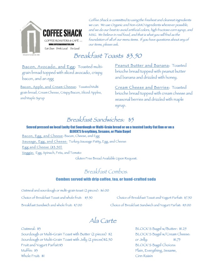 Coffee Shack Coffee Roasters Menu